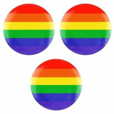 3x regenboog pride kleuren mini tas pin/broche 2 cm