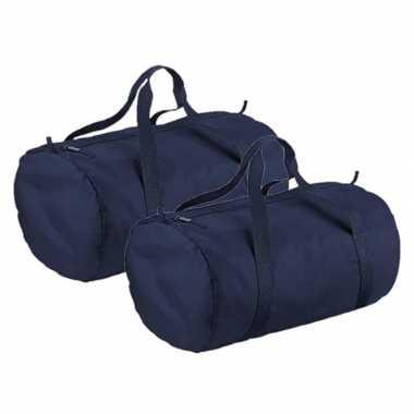 3x stuks navy blauwe ronde polyester reistas/sporttas/weekendtas 32 liter
