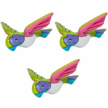 3x stuks opblaasbare decoratie papegaai 23 cm
