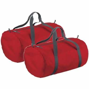 3x stuks rode ronde polyester reistas/sporttas/weekendtas 32 liter