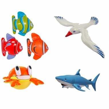4x opblaasbare maritiem decoratie zeedieren type 2