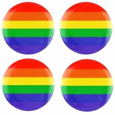 4x regenboog pride kleuren mini tas pin/broche 2 cm