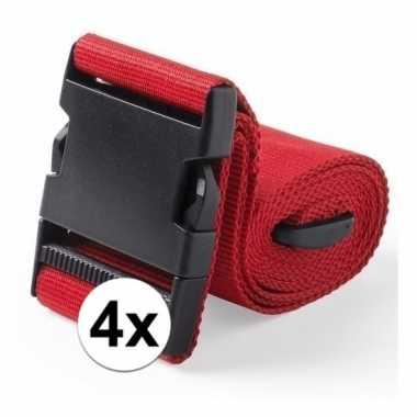4x stuks kofferriemen rood 180 cm