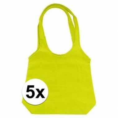 5 x limegroene opvouwbare tassen/shoppers