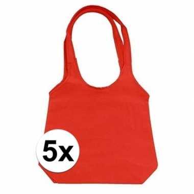 5 x rode opvouwbare tassen/shopper
