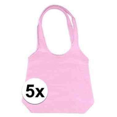 5 x roze opvouwbare tassen/shoppers