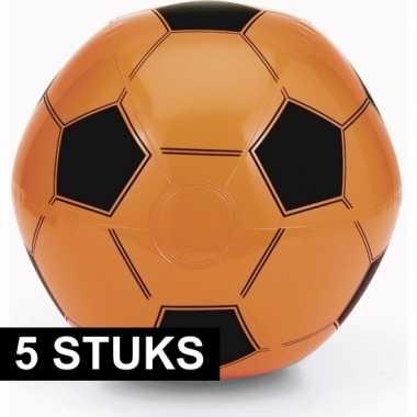5x opblaasbare oranje voetbal strandballen speelgoed