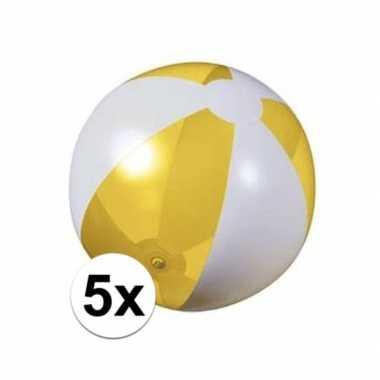 5x opblaasbare strandbal geel