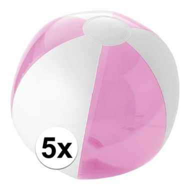 5x opblaasbare strandbal roze