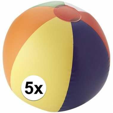 5x strandbal opblaasbaar multicolor