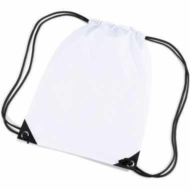 5x stuks witte gymtas/ gymtasjes met rijgkoord 45 x 34 cm