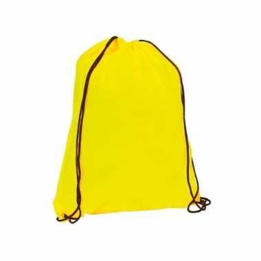 6x stuks neon geel gymtassen/sporttassen met rijgkoord 34 x 42 cm