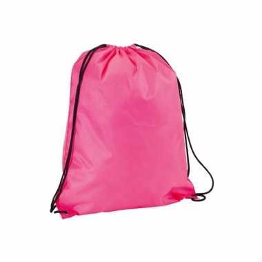 6x stuks neon roze gymtassen/sporttassen met rijgkoord 34 x 42 cm