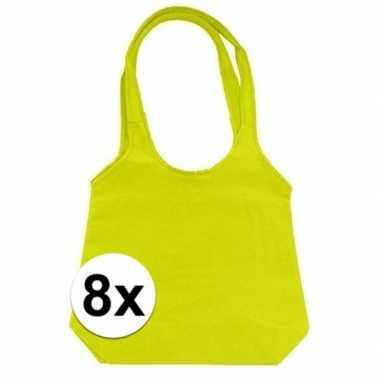 8 x limegroene opvouwbare tassen/shoppers