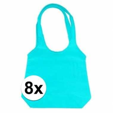 8 x turquoise opvouwbare tassen/shoppers