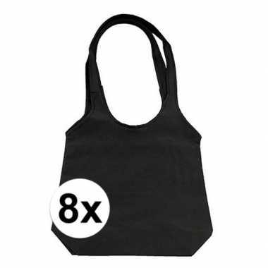 8 x zwarte opvouwbare tassen/shoppers