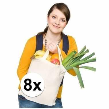 8x katoenen boodschappen tassen naturel