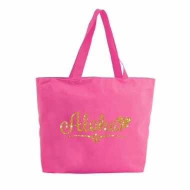 Aloha shopper tas fuchsia roze 47 cm 10157634