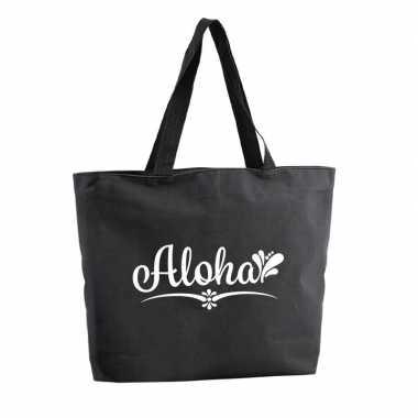 Aloha shopper tas zwart 47 cm