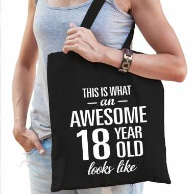 Awesome 18 year geweldig 18 jaar cadeau tas zwart voor dames
