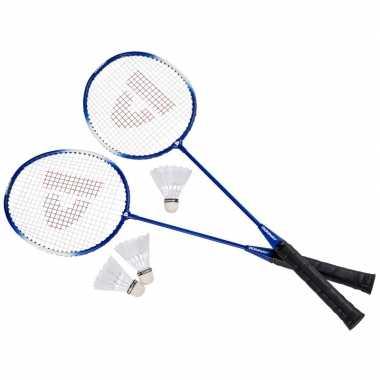 Badminton set blauw met 3 shuttles en opbergtas 67 cm