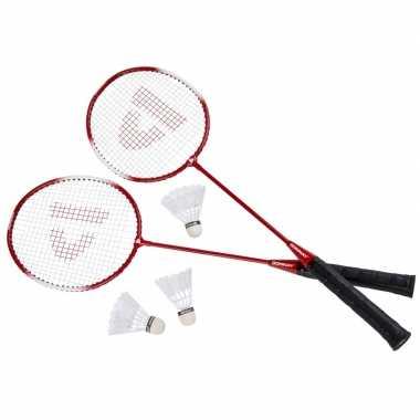Badminton set rood met 3 shuttles en opbergtas 67 cm