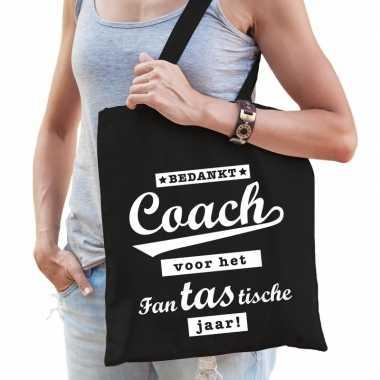 Bedankt coach katoenen cadeau tas zwart