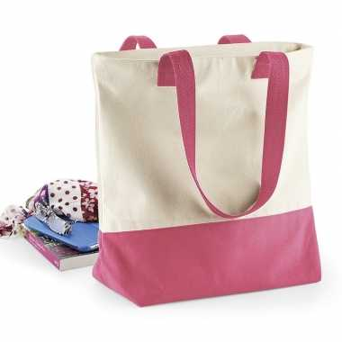 Beige roze basic canvas tas/shopper 47 x 39 cm