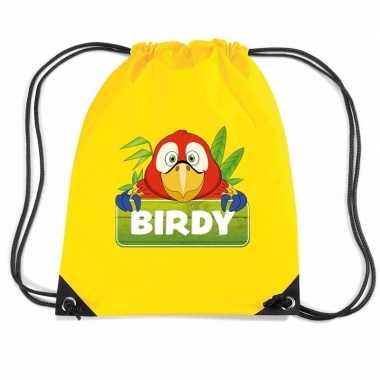 Birdy de papegaai rugtas gymtas geel voor kinderen