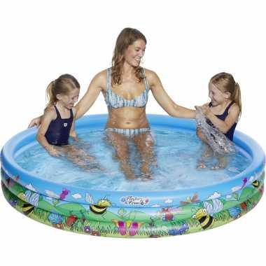 Blauw/bloemen opblaasbaar zwembad 178 x 30 cm speelgoed