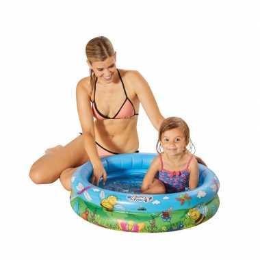 Blauw/bloemen opblaasbaar zwembad baby badje 74 x 18 cm speelgoed