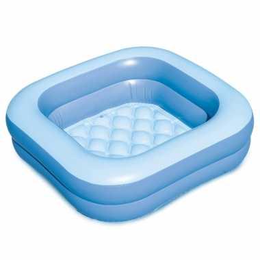 Blauw opblaasbaar zwembad babybadje 86 x 86 x 25 cm speelgoed