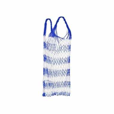 Blauw strand draagnet / strandtas 75 cm