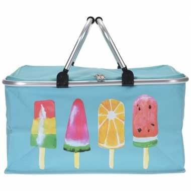 Blauwe koeltas met ijsjes 48cm