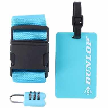 Blauwe koffer/bagage accessoiresset 3-delig