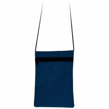 Blauwe reisdocumententas 18 cm