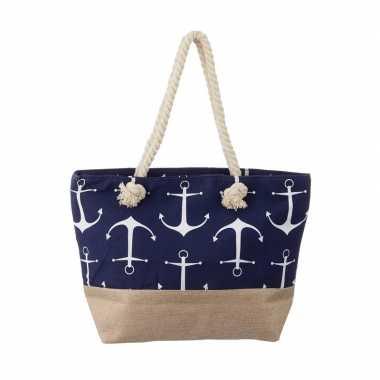 Blauwe strandtas met grote witte ankers maritiem thema 50 cm