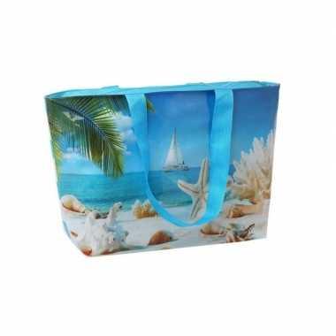 Blauwe strandtas met strandprint 56 cm