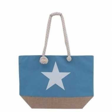 Blauwe strandtas met witte ster 55 cm