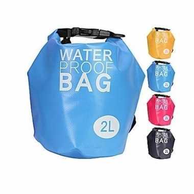 Blauwe waterdichte tas 2 liter