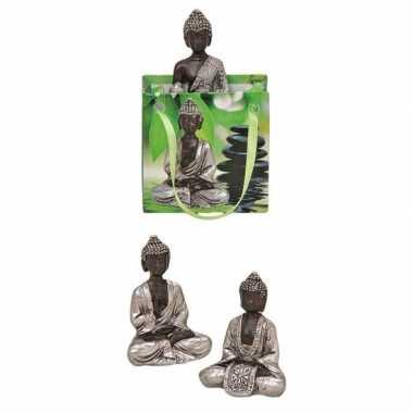 Boeddha beeld zilver in cadeautasje 8 cm