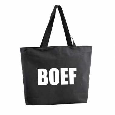 Boef shopper tas zwart 47 cm