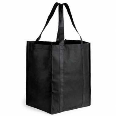 Boodschappen tas/shopper zwart 38 cm