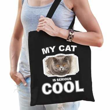 Britse korthaar katten tasje zwart volwassenen en kinderen - my cat serious is cool kado boodschappe