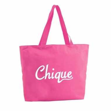 Chique shopper tas fuchsia roze 47 cm
