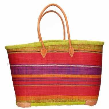 Damestas rieten strandtas met groen/rood strepen print 52 cm
