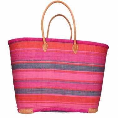 Damestas rieten strandtas met roze oranje strepen print 52 cm