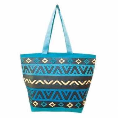 Damestas strandtas aztec print blauw/zwart nazare 58 cm