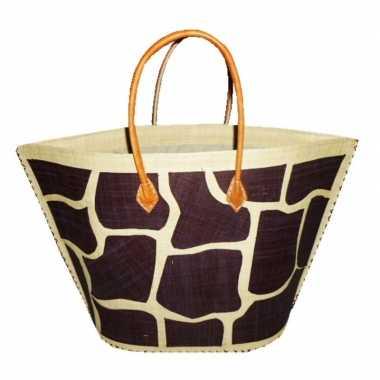 Damestas strandtas met bruin/naturel giraf/dieren print 51 cm