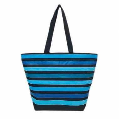 Damestas strandtas met strepen print blauw playa marbella